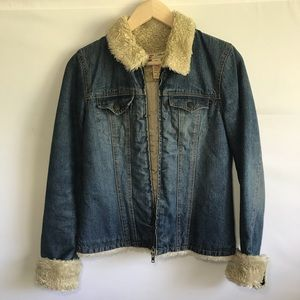 Denim jacket with sherpa lining
